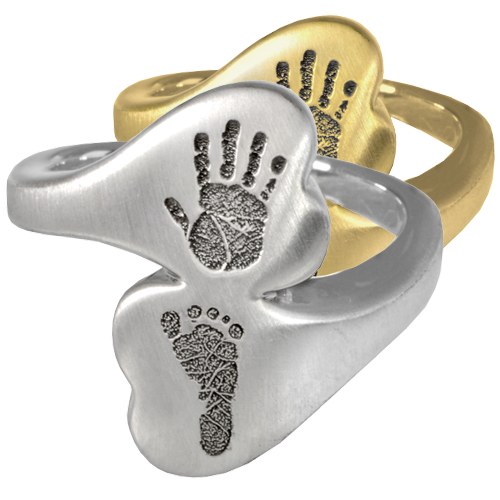 Double Chamber Heart Ring Hand and Foot Print Cremation Jewelry-Jewelry-New Memorials-Afterlife Essentials
