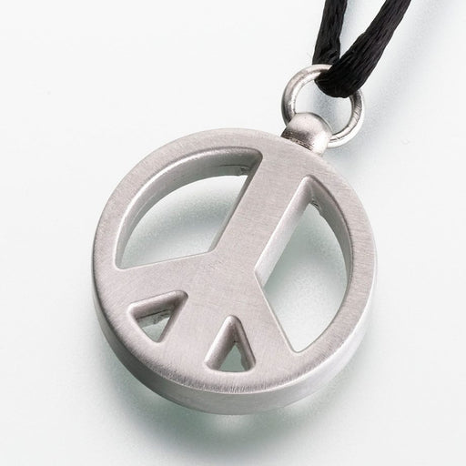 "Pewter Peace Sign Cremation Jewelry-Jewelry-Madelyn Co-Pewter-Free 24"" Black Satin Cord-Afterlife Essentials"