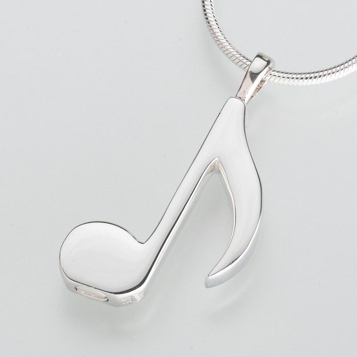 "Musical Note Cremation Jewelry-Jewelry-Madelyn Co-Sterling Silver-Free 24"" Black Satin Cord-Afterlife Essentials"