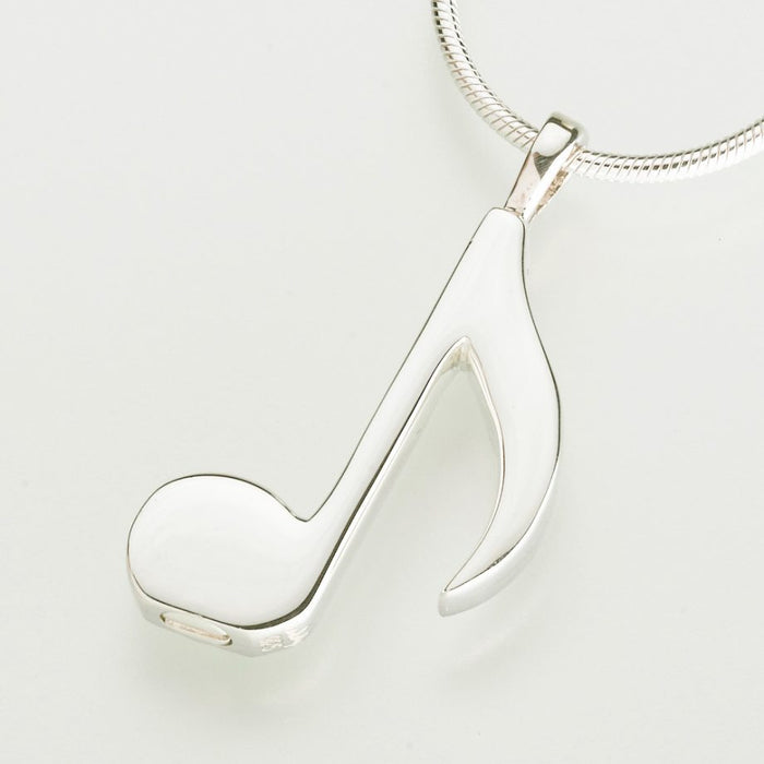 "Musical Note Cremation Jewelry-Jewelry-Madelyn Co-14K White Gold-Free 24"" Black Satin Cord-Afterlife Essentials"