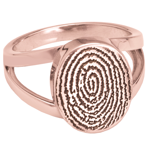 Elegant Oval V Ring Fingerprint Memorial Jewelry-Jewelry-New Memorials-14K Solid Rose Gold(allow 4-5 weeks)-No compartment-5-Afterlife Essentials