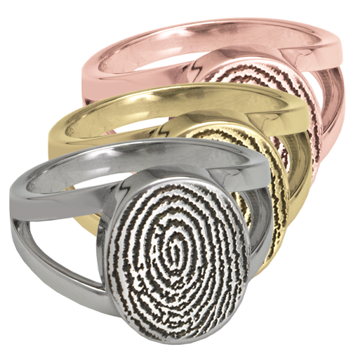 Elegant Oval V Ring Fingerprint Memorial Jewelry-Jewelry-New Memorials-Afterlife Essentials