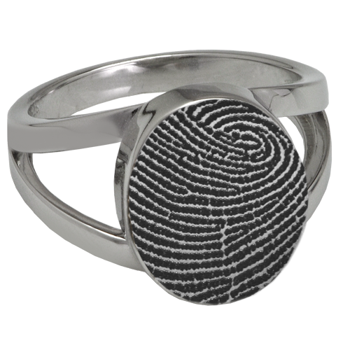 Elegant Oval V Ring Fingerprint Memorial Jewelry-Jewelry-New Memorials-Stainless Steel-No Compartment-5-Afterlife Essentials