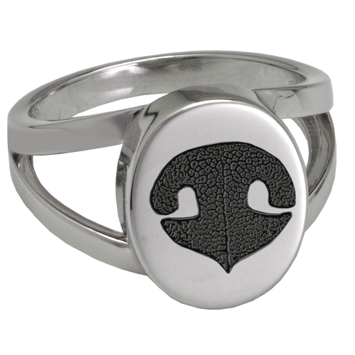 Elegant Oval V Ring Noseprint Pet Memorial Jewelry-Jewelry-New Memorials-Stainless Steel-No Compartment-5-Afterlife Essentials