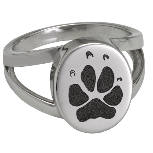 Elegant Oval V Ring Pawprint Pet Memorial Jewelry-Jewelry-New Memorials-Stainless Steel-No Compartment-5-Afterlife Essentials
