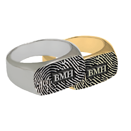 Rectangle Ring Fingerprint Cremation Jewelry-Jewelry-New Memorials-Afterlife Essentials