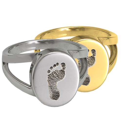 Elegant Oval V Ring Footprint Fingerprint Memorial Jewelry-Jewelry-New Memorials-Afterlife Essentials