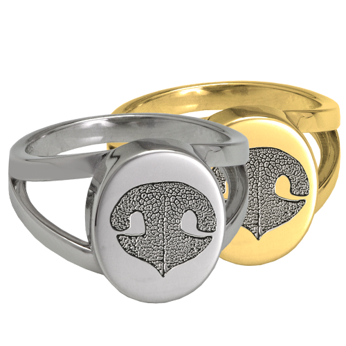 Elegant Oval V Ring Noseprint Pet Memorial Jewelry-Jewelry-New Memorials-Afterlife Essentials