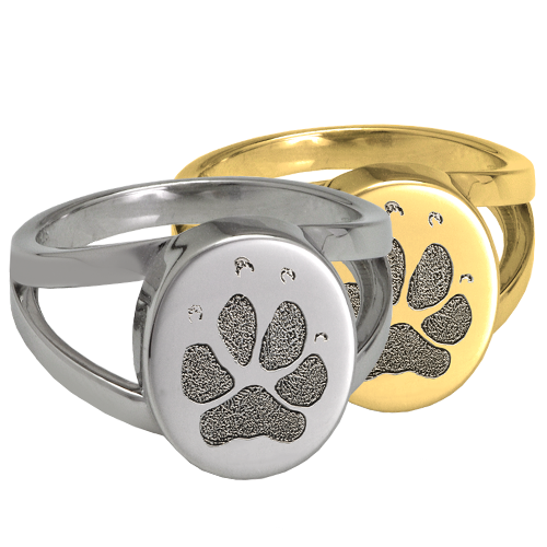Elegant Oval V Ring Pawprint Pet Memorial Jewelry-Jewelry-New Memorials-Afterlife Essentials