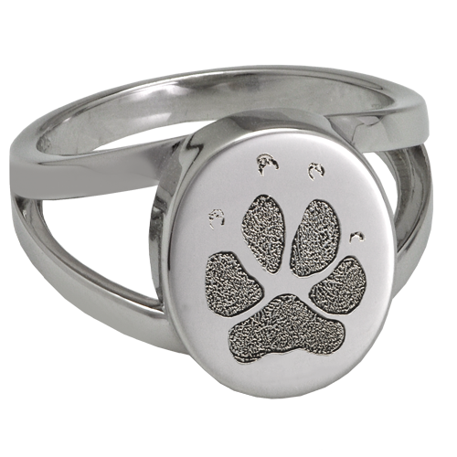 Elegant Oval V Ring Pawprint Pet Memorial Jewelry-Jewelry-New Memorials-Sterling Silver-No Compartment-5-Afterlife Essentials