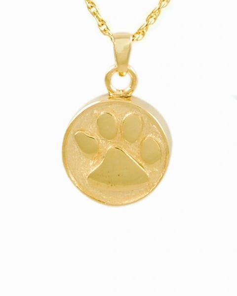 Gold Plated Round Pendant with Paw Cremation Jewelry-Jewelry-Cremation Keepsakes-Afterlife Essentials