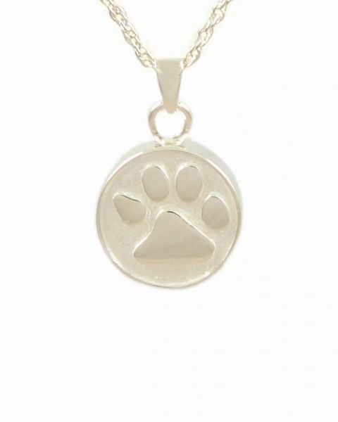 Sterling Silver Round Pendant with Paw Cremation Jewelry-Jewelry-Cremation Keepsakes-Afterlife Essentials