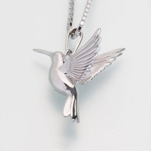 "Hummingbird Pendant Cremation Jewelry-Jewelry-Madelyn Co-Sterling Silver-Free 24"" Black Satin Cord-Afterlife Essentials"