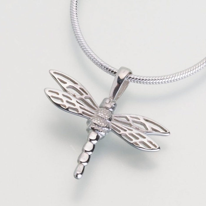 "Small Dragonfly Cremation Jewelry-Jewelry-Madelyn Co-Sterling Silver-Free 24"" Black Satin Cord-Afterlife Essentials"