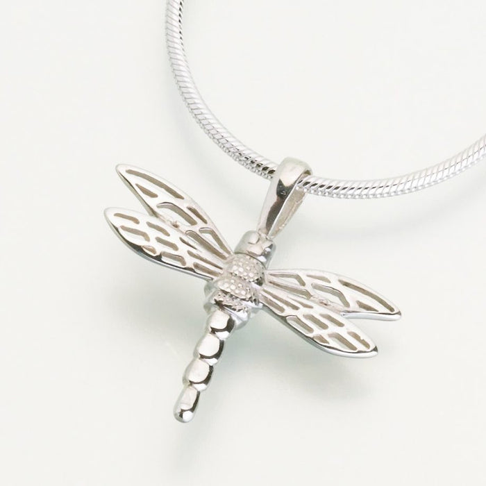 "Small Dragonfly Cremation Jewelry-Jewelry-Madelyn Co-14K White Gold-Free 24"" Black Satin Cord-Afterlife Essentials"