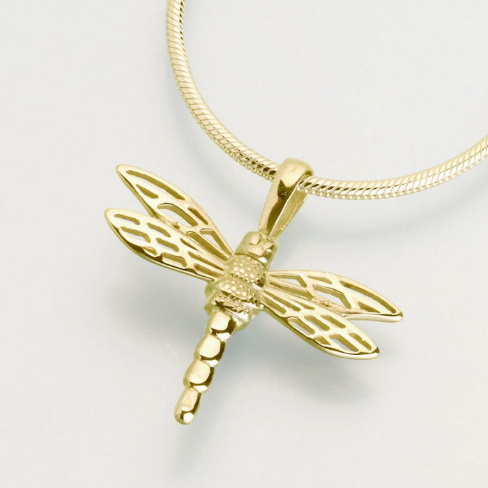 "Small Dragonfly Cremation Jewelry-Jewelry-Madelyn Co-14K Yellow Gold-Free 24"" Black Satin Cord-Afterlife Essentials"