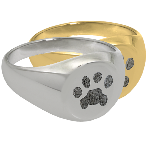 Elegant Round Ring Pawprint Pet Print Memorial Jewelry-Jewelry-New Memorials-Afterlife Essentials