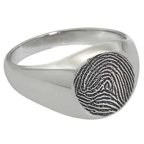 Elegant Round Ring Fingerprint Memorial Jewelry-Jewelry-New Memorials-Sterling Silver-No Compartment-6-Afterlife Essentials
