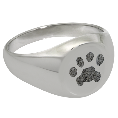 Elegant Round Ring Pawprint Pet Print Memorial Jewelry-Jewelry-New Memorials-Sterling Silver-No Compartment-6-Afterlife Essentials