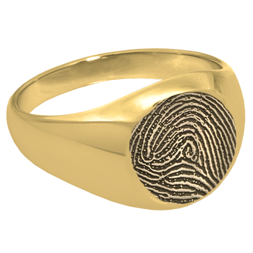 Elegant Round Ring Fingerprint Memorial Jewelry-Jewelry-New Memorials-14K Solid Yellow Gold (allow 4-5 weeks)-No Compartment-6-Afterlife Essentials