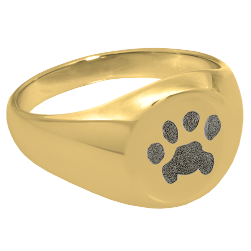 Elegant Round Ring Pawprint Pet Print Memorial Jewelry-Jewelry-New Memorials-14K Solid Yellow Gold (allow 4-5 weeks)-No Compartment-6-Afterlife Essentials