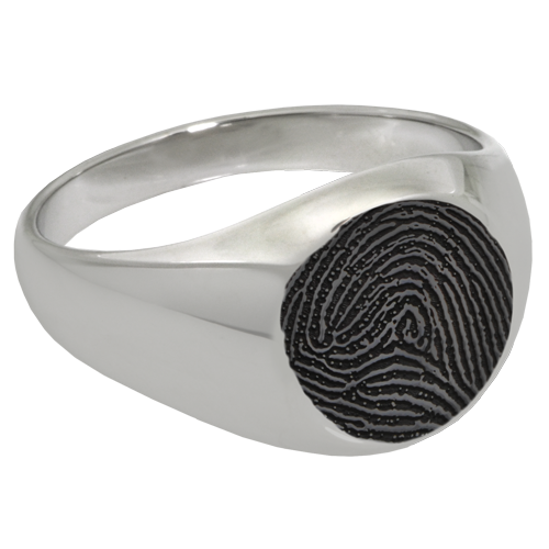 Elegant Round Ring Fingerprint Memorial Jewelry-Jewelry-New Memorials-Stainless Steel-No Compartment-6-Afterlife Essentials