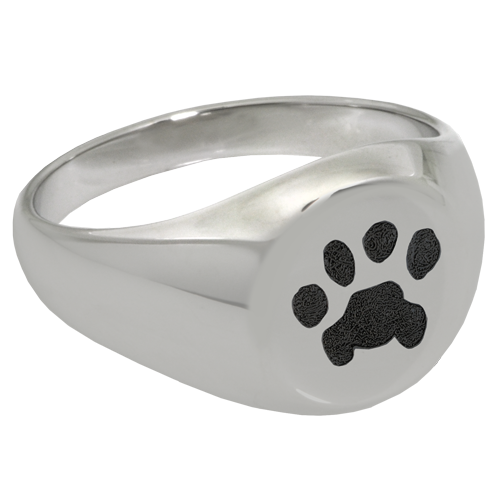 Elegant Round Ring Pawprint Pet Print Memorial Jewelry-Jewelry-New Memorials-Stainless Steel-No Compartment-6-Afterlife Essentials
