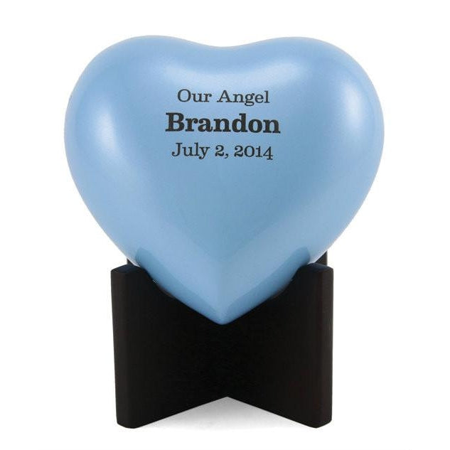 Arielle Heart Pearl Blue Cremation Urn-Cremation Urns-Terrybear-Afterlife Essentials