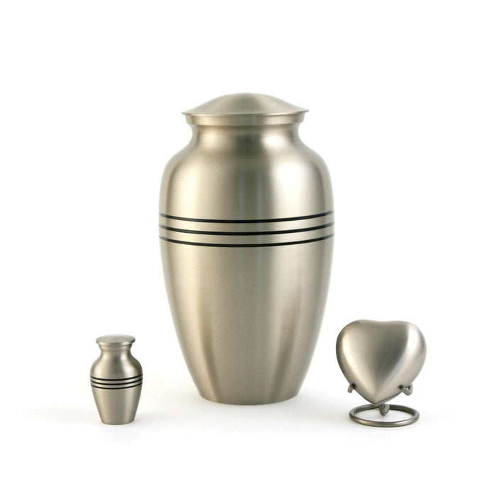 Classic Pewter Individual Keepsake with velvet bag Cremation Urn-Cremation Urns-Terrybear-Afterlife Essentials