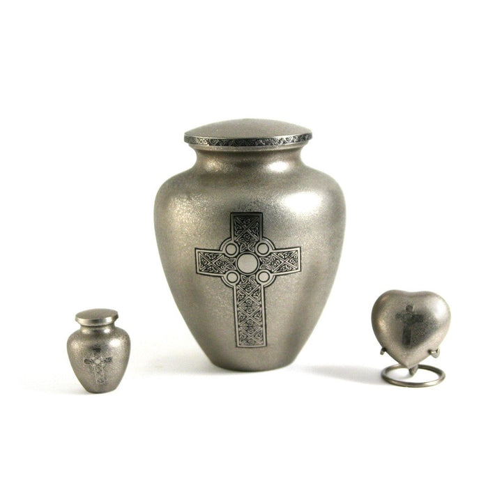 Celtic Cross Heart Keepsake with velvet box Cremation Urn-Cremation Urns-Terrybear-Afterlife Essentials