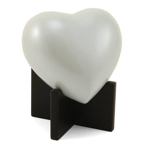 Arielle Heart Pearl White Cremation Urn-Cremation Urns-Terrybear-Afterlife Essentials