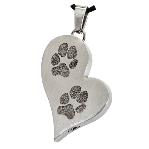 B&B Teardrop Heart 2 Pawprints Pendant Cremation Jewelry-Jewelry-New Memorials-Stainless Steel-Chamber (for ashes)-Afterlife Essentials