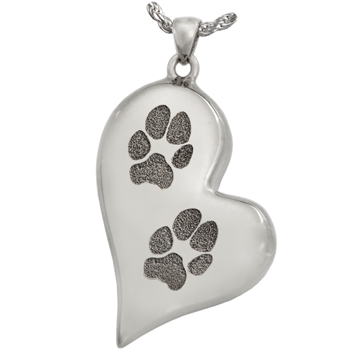 B&B Teardrop Heart 2 Pawprints Pendant Cremation Jewelry-Jewelry-New Memorials-925 Sterling Silver-Chamber (for ashes)-Afterlife Essentials