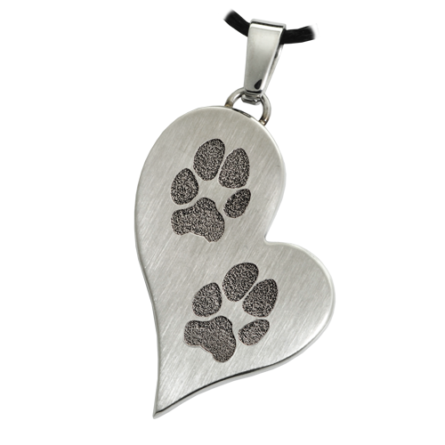B&B Teardrop Heart 2 Pawprints Pendant Cremation Jewelry-Jewelry-New Memorials-Stainless Steel-No Chamber (flat)-Afterlife Essentials