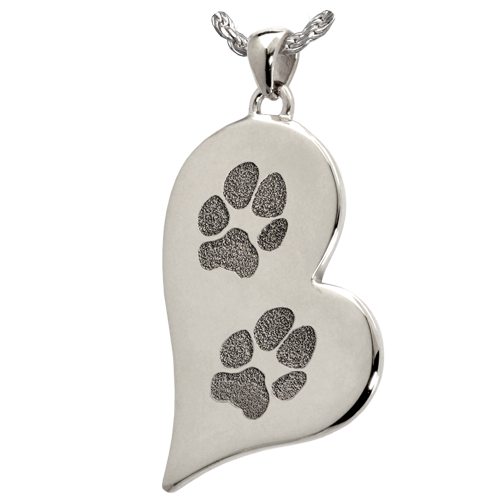 B&B Teardrop Heart 2 Pawprints Pendant Cremation Jewelry-Jewelry-New Memorials-925 Sterling Silver-No Chamber (flat)-Afterlife Essentials