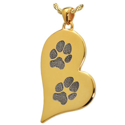 B&B Teardrop Heart 2 Pawprints Pendant Cremation Jewelry-Jewelry-New Memorials-14K Solid Yellow Gold (allow 4-5 weeks)-No Chamber (flat)-Afterlife Essentials