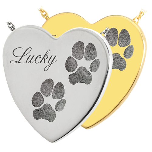 B&B Heart 2 Actual Pawprints + Name Pet Cremation Jewelry-Jewelry-New Memorials-Afterlife Essentials