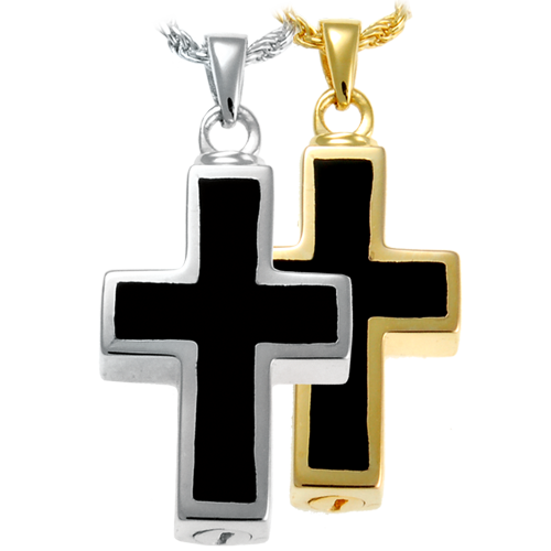 Black Inlay Cross Pendant Cremation Jewelry-Jewelry-New Memorials-Afterlife Essentials