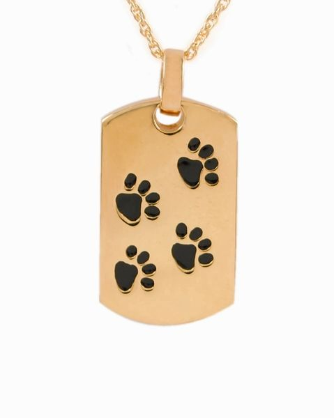 Gold Plated Dog Tag with Black Paws Cremation Jewelry-Jewelry-Cremation Keepsakes-Afterlife Essentials