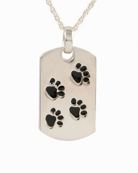 Sterling Silver Dog Tag with Black Paws Cremation Jewelry-Jewelry-Cremation Keepsakes-Afterlife Essentials