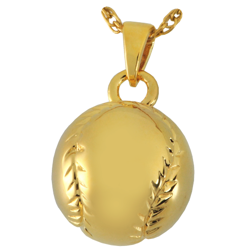 Baseball Pendant Cremation Jewelry-Jewelry-New Memorials-14K Gold Plating (14K over sterling silver)-Afterlife Essentials