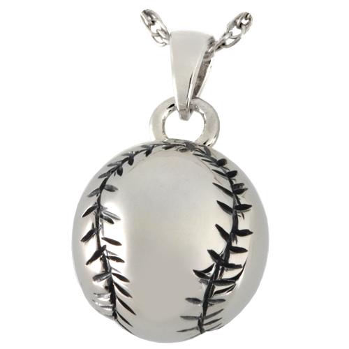 Baseball Pendant Cremation Jewelry-Jewelry-New Memorials-Sterling Silver (Antiqued)-Afterlife Essentials