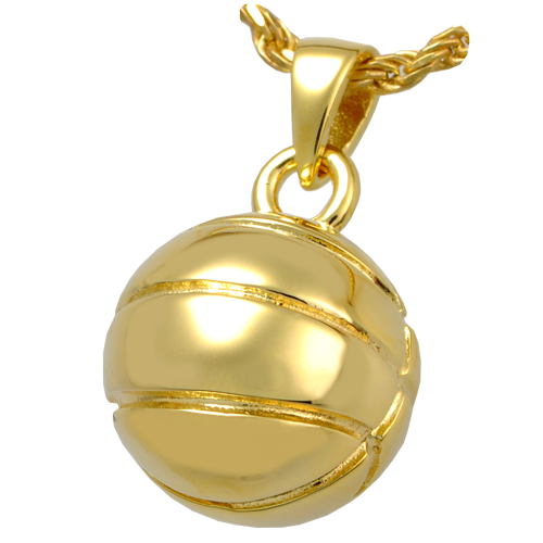 Basketball Pendant Cremation Jewelry-Jewelry-New Memorials-14K Gold Plating (14K over sterling silver)-Afterlife Essentials