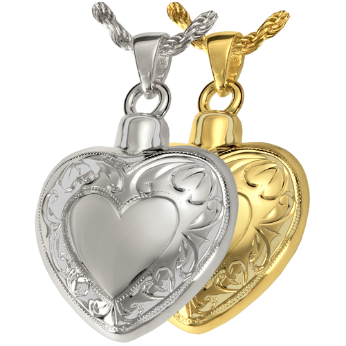 Double Etched Heart Cremation Jewelry-Jewelry-New Memorials-Afterlife Essentials