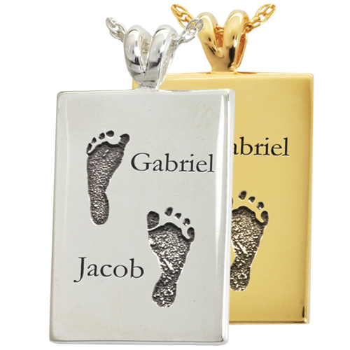 Rectangle Jewelry- Twin Footprints with Names-Jewelry-New Memorials-Afterlife Essentials
