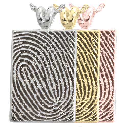 B&B Rectangle Fingerprint Cremation Jewelry-Jewelry-New Memorials-Afterlife Essentials