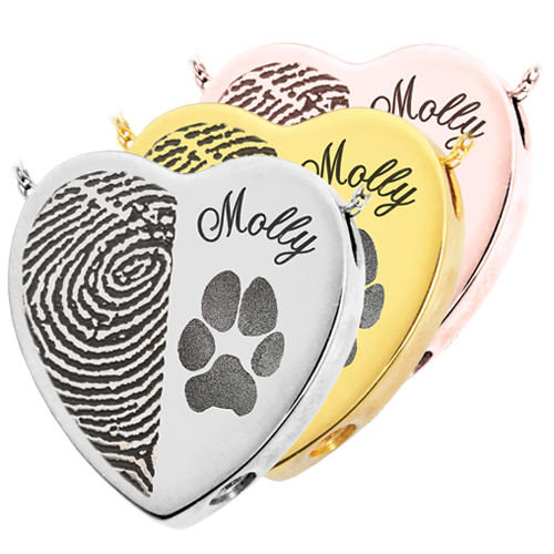 B&B Heart Actual Halfprint Pawprint + Name Pet Cremation Jewelry-Jewelry-New Memorials-Afterlife Essentials
