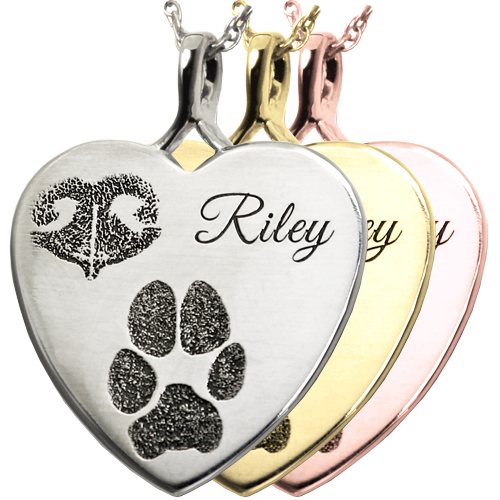 B&B Heart Actual Noseprint Pawprint + Name Pet Cremation Jewelry-Jewelry-New Memorials-Afterlife Essentials