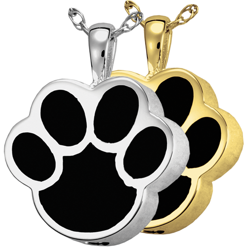 Black Inlay Paw Print Cremation Jewelry-Jewelry-New Memorials-Afterlife Essentials