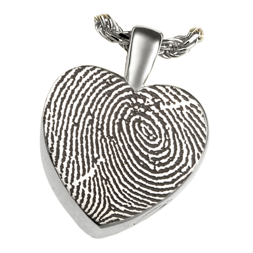 Classic Petite Heart Fingerprint Pendant Cremation Jewelry-Jewelry-New Memorials-Sterling Silver-Afterlife Essentials